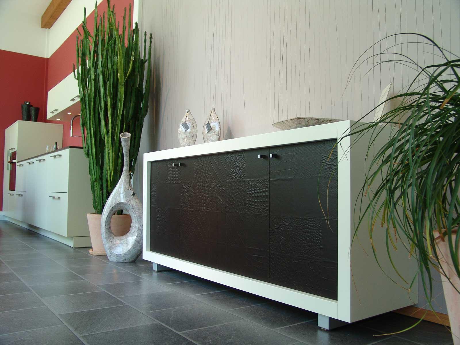 Jödicke Design - Sideboard in Lederoptik - weiß, matt lackiert